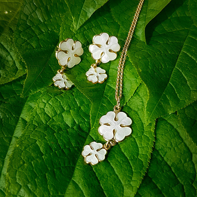 Lucky Clover jewellery in silver and enamel.